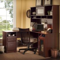 Bush Furniture Cabot L Shaped Desk with Hutch in Harvest