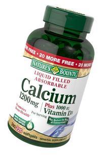 Nature's Bounty Calcium 1200 mg Plus Vitamin D3 1000 IU, 220