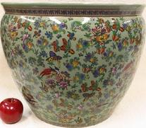 Calico Green Porcelain Fish Bowl 18
