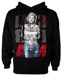 California Tattooed Marilyn Monroe Mens Black Hoodie Hooded