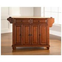 Cambridge Kitchen Island with Natural Wood Top in Classic Cherry