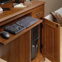 Sauder Camden County Computer Desk with Hutch, Planked