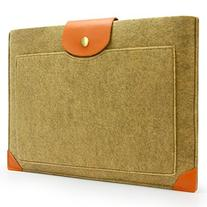 Sinoguo Camel Color Felt & Leather Case Sleeve Pouch for 13