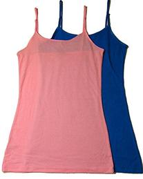 2 Pack Cotton Cantina Cotton Camis with Built in Shelf Bra