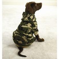 Camo Hooded Dog Sweatshirt - Medium Green