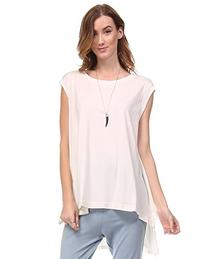 Women's Cap Sleeve Relaxed Fit Top with Longer Back Hem