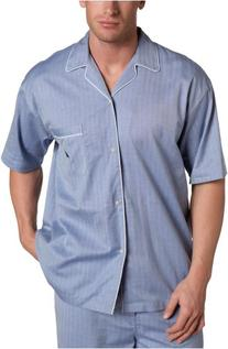 Nautica Men's Captains Herringbone Woven Short Sleeve Pajama