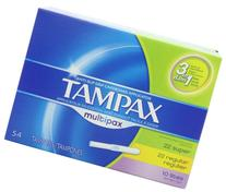 Tampax Multipax Cardboard Applicator Tampons, Unscented, 54