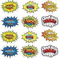 Large Cardboard Superhero Word Cutouts  - 12 Pcs