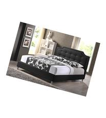 Carlotta Black Modern Bed With Upholstered Headboard - Queen