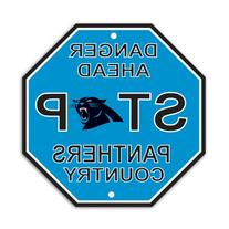 "Carolina Panthers Plastic Stop Sign ""Danger Ahead Panthers"