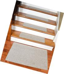 "Dean Carpet Stair Treads 27"" x 9"" Fresco Beige Plush  plus 2"