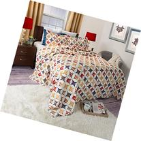 Lavish Home Cassandra Printed 3-Piece Quilt Set, Full/Queen