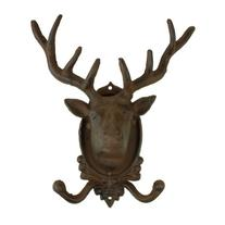 Cast Iron Deer Head Double Hook Wall Key Rack Holder Hooks