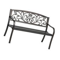Cast Iron Powder Coated Outdoor Patio Bench, Ivy Design