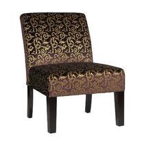 Cortesi Home Castano Armless Velvet Damask Accent Chair,