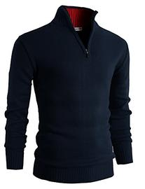 H2H Mens Casual Basic Pullover Sweater of Neck Zipper NAVY