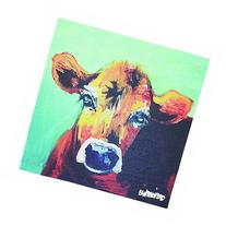 Creative Co-Op Casual Country Canvas Art with Cow, 12-Inch