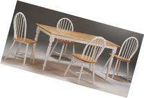 5pc Casual Dining Table and Chairs Set with Natural Top in