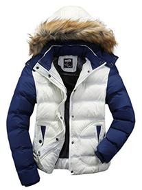 Wantdo Men's Casual Fur Hooded Parka Jacket Medium White
