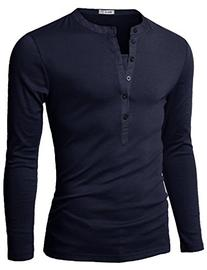 Mens Long Sleeve Henley T-shirts with Button Placket, Navy
