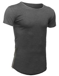 Casual Longlie Side Slit with Zipper Tshirt Tee Charcoal
