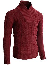H2H Mens Casual Shawl Collar Pullover Light Sweater With