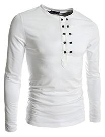 TheLees  Mens casual slim fit button point long sleeve