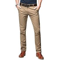 OCHENTA Mens Casual Slim-Tapered Flat-Front Pants Khaki