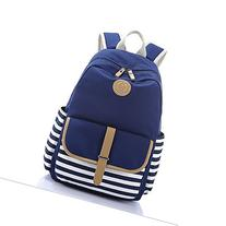 Casual Style Striped School Bag Backpack Canvas Bag Travel
