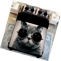 MeMoreCool Fashion Cat with Glasses Duvet Cover Set - 3