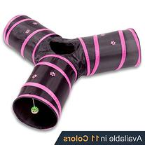 Prosper Pet Cat Tunnel - Collapsible 3 Way Play Toy -