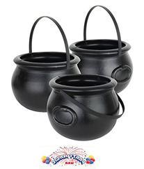 Cauldron 8 inch Black Plastic Pkg/6