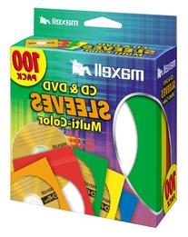 Maxell Multi-Color CD/DVD Sleeves - 100 Pack