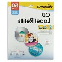CD Label Refills, f/ Inkjet/Laser, 50/PK, White Matte, Sold