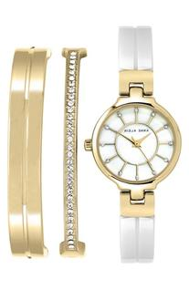 Women's Anne Klein Ceramic Bangle Watch Set, 26mm - White/