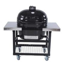 Primo Ceramic Charcoal Smoker Grill On Cart With Side Tables