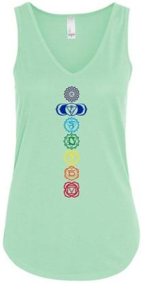 Yoga Clothing For You Ladies Colored Chakras Flowy V-Neck