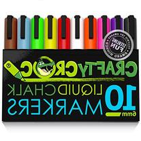 Crafty Croc Liquid Chalk Markers, 10 Pack of Neon Chalk Pens