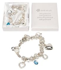 """For the Bride"" Charm Bracelet with Hearts, Stars and Rings"