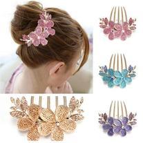 Charm Fashion Lady Girl Flower Pattern Alloy Rhinestone