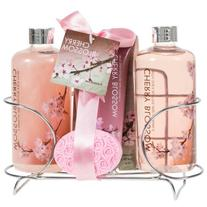 Cherry Blossom Spa Gift Set in Stainless Steel Caddy-