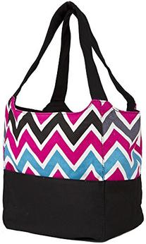 Ever Moda Black Pink Multicolor Chevron Canvas XL Tote Bag