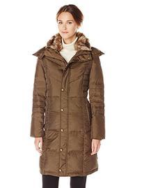 London Fog Women's Chevron Down Coat with Faux Fur Trim Neck