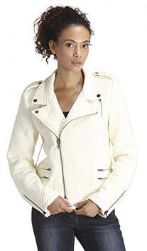 CARAPACE Womens Women's Chevron Knitted Biker Moto Jacket