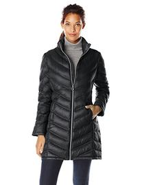 Calvin Klein Women's Chevron Packable Down Coat, Black,