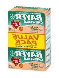 Bayer Aspirin, Chewable, Low Dose , Orange Flavor, 108