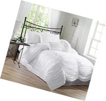 Chezmoi Collection 7-Piece Chic Ruched Comforter Set, King,