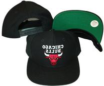 Chicago Bulls Black Snapback Adjustable Plastic Snap Ba
