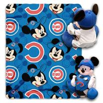 MLB Chicago Cubs Mickey Mouse Pillow with Fleece Throw